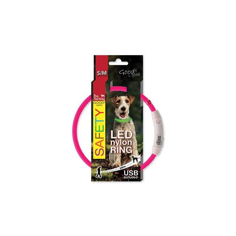 Obojok Dog Fantasy LED nylonový S/M ružový