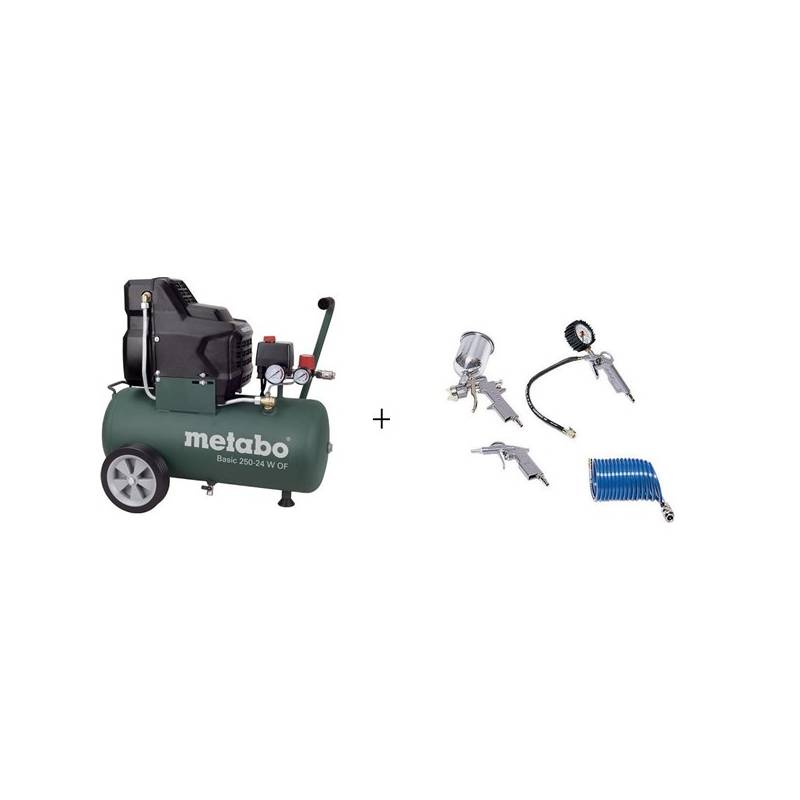 Set - kompresor Metabo Basic 250-24 OF + příslušenství LPZ 4 + Doprava zadarmo