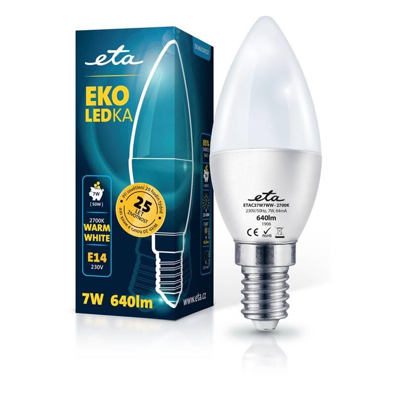 Žárovka LED ETA EKO LEDka svíčka 7W, E14, teplá bílá (C37W7WW)