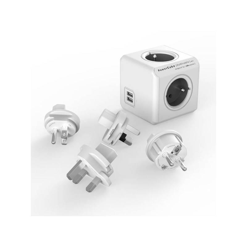 Cestovný adaptér Powercube Rewirable USB + Travel Plugs - šedý (456308) sivý