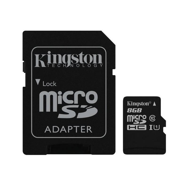 Pamäťová karta Kingston MicroSDHC 8GB UHS-I U1 (45R/10W) + adapter (SDC10G2/8GB)