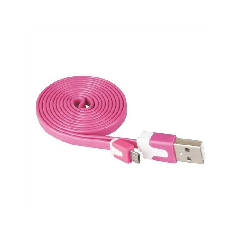 Kábel EMOS Wirez MicroUSB, 1 m ružový