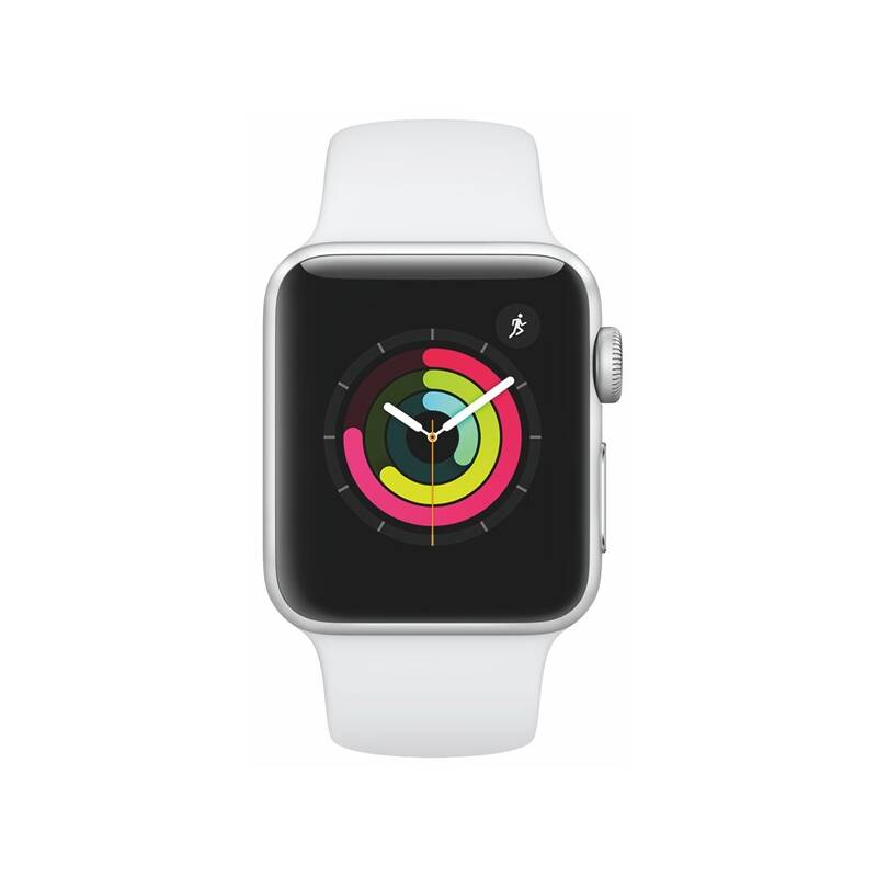 Chytré hodinky Apple Watch Series 3 GPS 38mm pouzdro ze stříbrného hliníku - bílý sportovní řemínek (MTEY2CN/A)