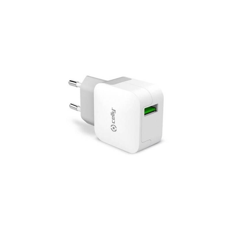Nabíjačka do siete Celly Turbo, 1x USB 2,4 A (TCUSBTURBO) biela