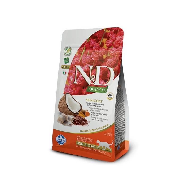 Granule N&D Grain Free Quinoa CAT Skin&Coat Herring & Coconut 1,5 kg