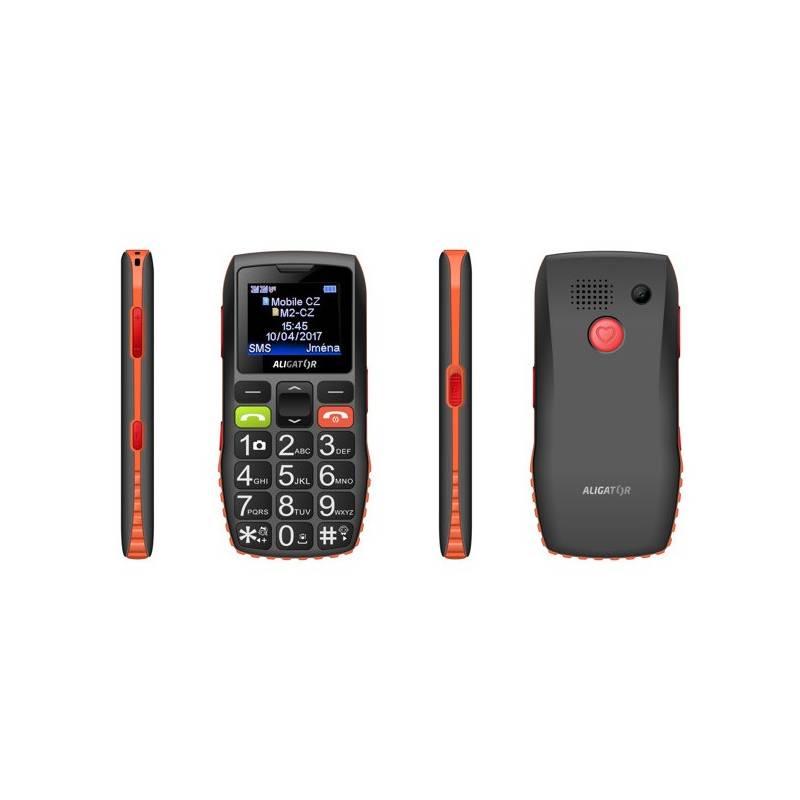Mobilný telefón Aligator A440 Senior (A440BO) čierny/oranžový
