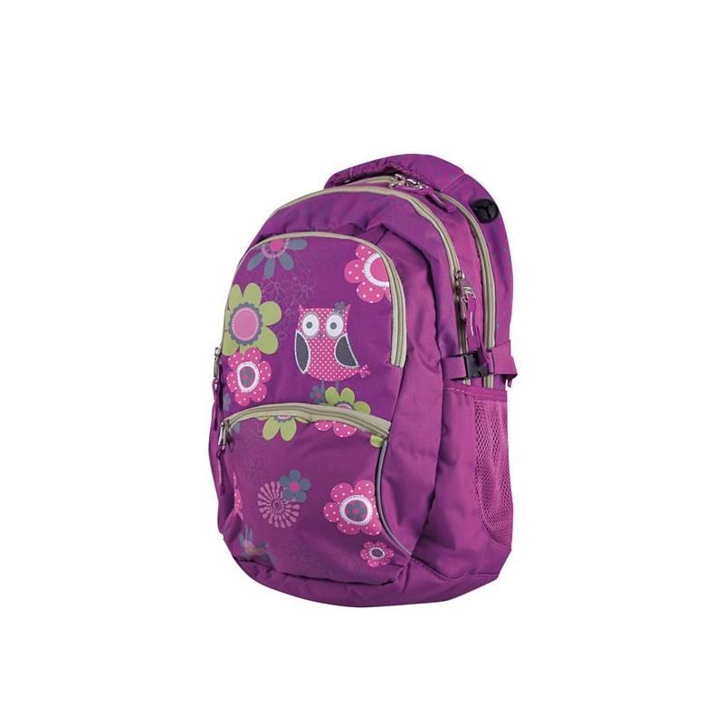 Batoh školský Stil teen Owl zelené ružové fialové  cff42508b0