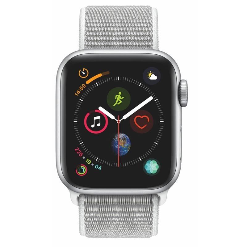 Chytré hodinky Apple Watch Series 4 Watch Series 4 GPS 40mm pouzdro ze stříbrného hliníku - mušlově bílý provlékací sportovní řemínek (MU652HC/A) + Doprava zadarmo