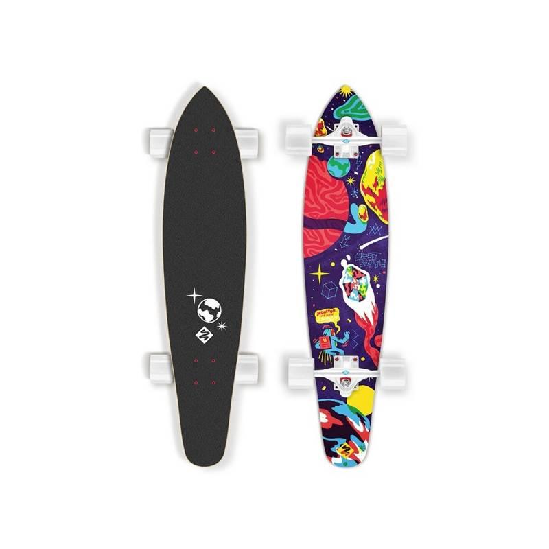 """Longboard Street Surfing Kicktail 36"""" Space biely/červený/modrý + Reflexní sada 2 SportTeam (pásek, přívěsek, samolepky) - zelené v hodnote 2.80 € + Doprava zadarmo"""