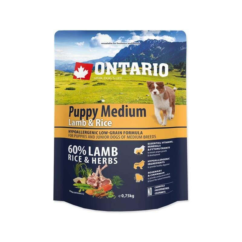 Granule Ontario Puppy Medium Lamb & Rice 0,75kg