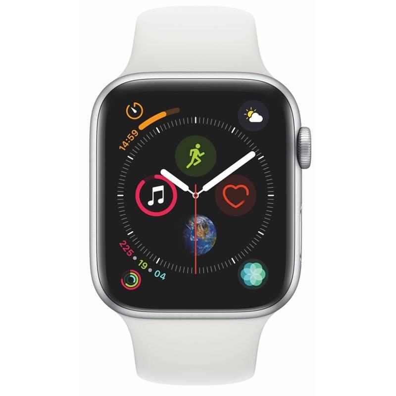 Chytré hodinky Apple Watch Series 4 GPS 44mm pouzdro ze stříbrného hliníku - bílý sportovní řemínek SK verze (MU6A2VR/A)
