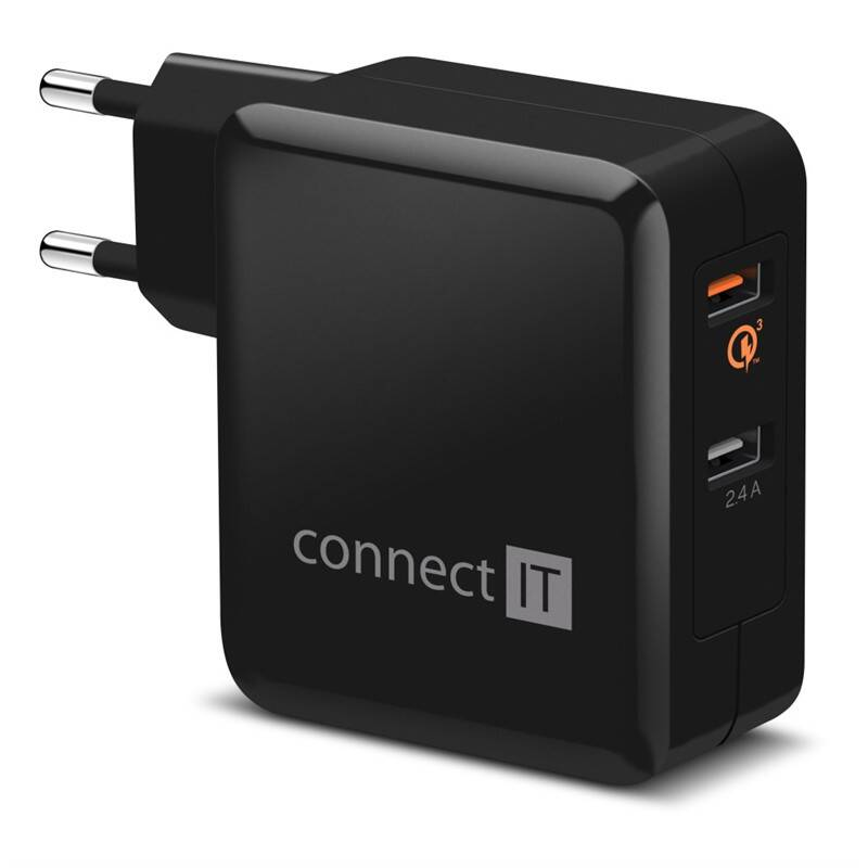 Nabíjačka do siete Connect IT 2x USB (3,4A), s funkcí rychlonabíjení QC 3.0 (CWC-3010-BK) čierna