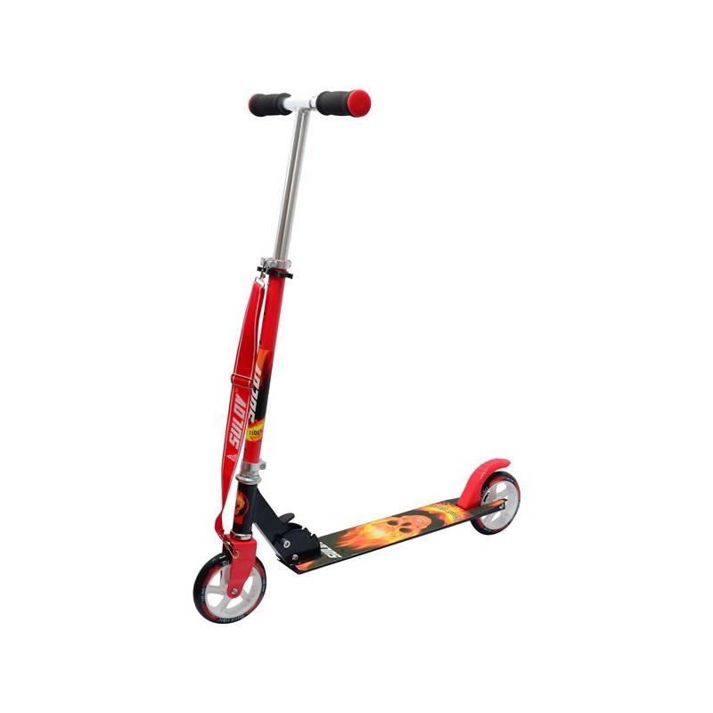 Kolobežka Sulov skládací Devil Rider čierna/červená + Reflexní sada 2 SportTeam (pásek, přívěsek, samolepky) - zelené v hodnote 2.80 € + Doprava zadarmo