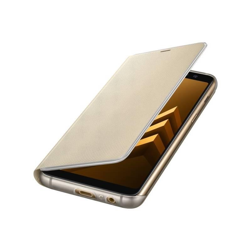 Puzdro na mobil flipové Samsung Neon Flip Cover pro Galaxy A8 (2018) (EF-FA530PFEGWW) zlaté
