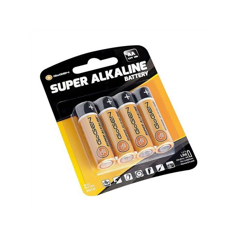 Batéria alkalická GoGEN SUPER ALKALINE AA, LR06, blistr 4ks (GOGR06ALKALINE4) čierna/oranžová