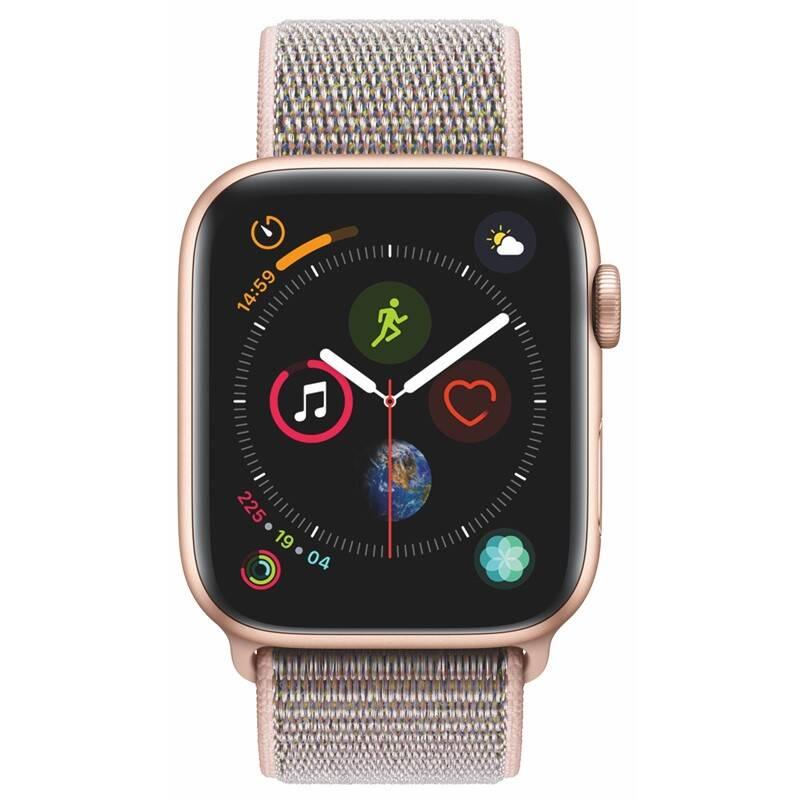 Chytré hodinky Apple Watch Series 4 GPS 44mm pouzdro ze zlatého hliníku - pískově růžový provlékací sportovní řemínek SK verze (MU6G2VR/A) + Doprava zadarmo
