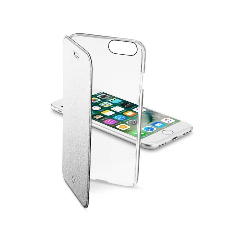 Puzdro na mobil flipové CellularLine Clear Book pro Apple iPhone 8/7 (CLEARBOOKIPH747S) strieborné