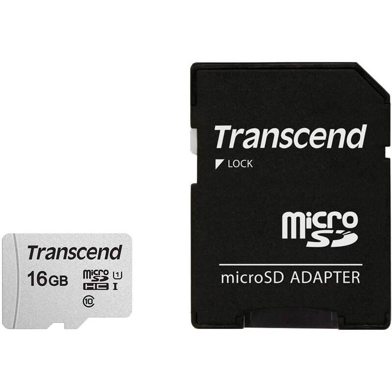 Pamäťová karta Transcend 300S microSDHC 16GB UHS-I U1 (95R/10W) + adapter (TS16GUSD300S-A)