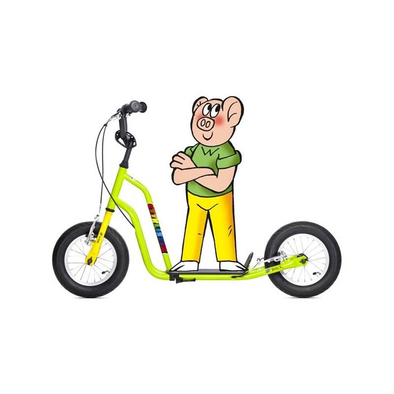 Kolobežka Yedoo Basic Čtyřlístek Maxi - Bobík žltá/zelená + Reflexní sada 2 SportTeam (pásek, přívěsek, samolepky) - zelené v hodnote 2.80 € + Doprava zadarmo