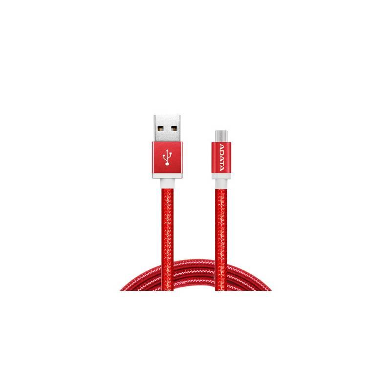 Kábel ADATA MicroUSB, 1m, pletený (AMUCAL-100CMK-CRD) červený
