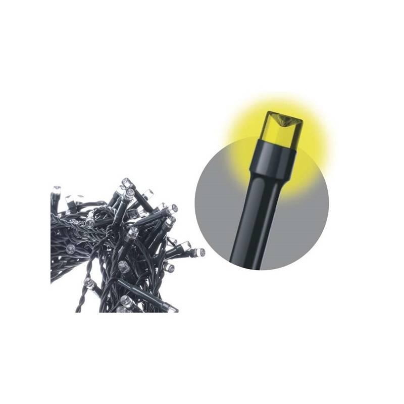 Vianočné osvetlenie EMOS 120 LED, 12m, řetěz, teplá bílá, časovač, i venkovní použití (1534170035)