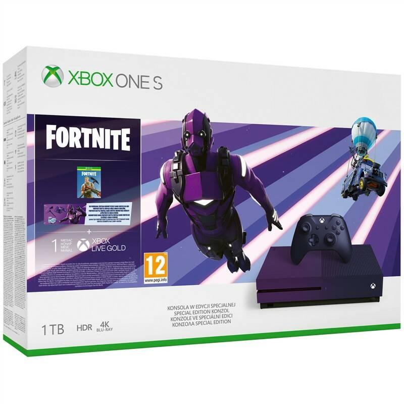 Herní konzole Microsoft Xbox One S 1 TB + Fortnite Battle Royale Special Edition (23C-00089) fialov