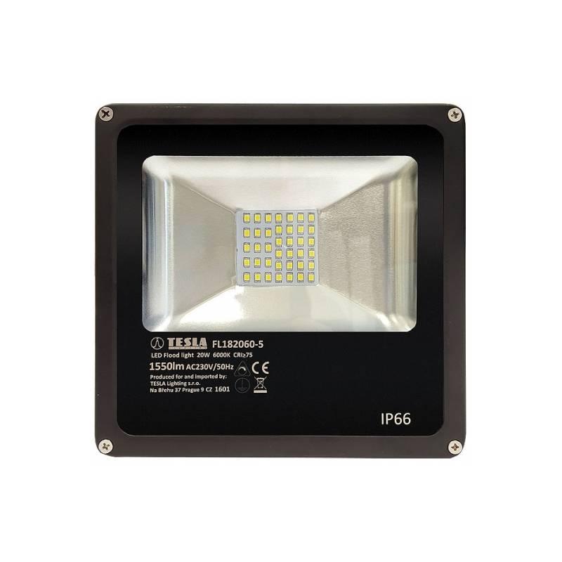 LED reflektor Tesla 20W, studená bílá, 1550lm (FL182060-5) černý