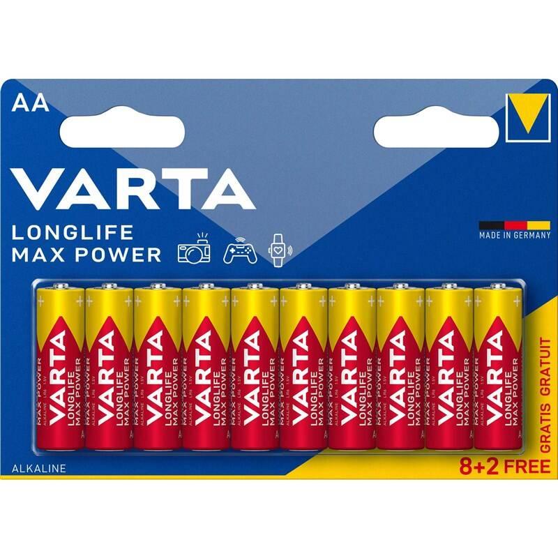 Batéria alkalická Varta Longlife Max Power AA, LR06, blistr 8+2ks (4706101410)