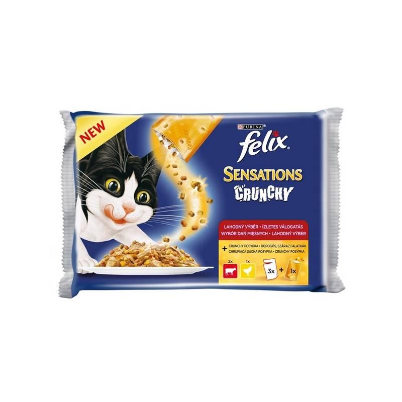 Kapsička Felix Sensations Crunchy v želé s hovězím, kuřetem a křupavou posypkou 3 x 100g + 12 g