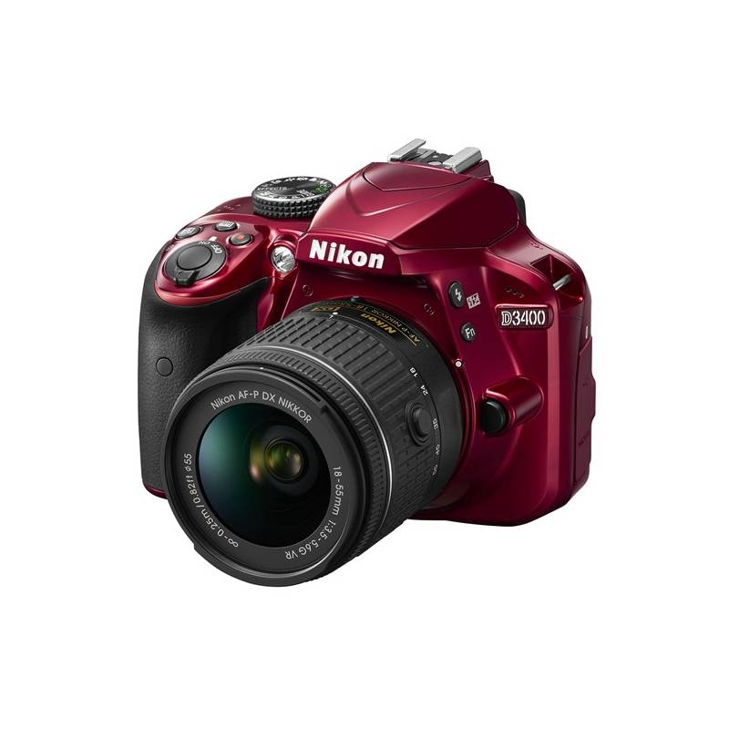 Digitálny fotoaparát Nikon D3400 + AF-P 18-55 VR + 4x čištění čipu zdarma (VBA491K001) červený