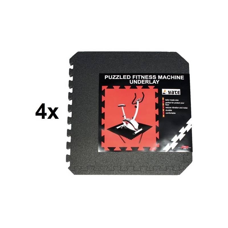 Fitness Puzzle mat 55x55x0,8, set 4 ks - čierna