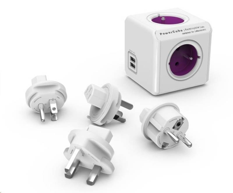 Cestovný adaptér Powercube Rewirable USB + Travel Plugs - šedý (456308) sivý