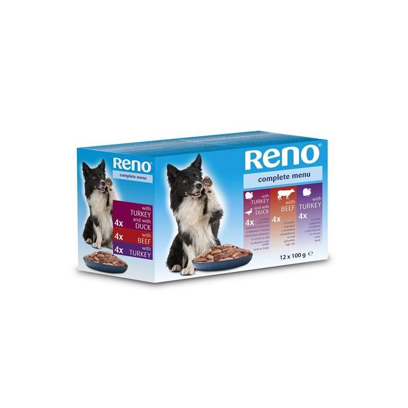 Kapsička Reno pro psa s hovězím + s krůtím + s kachním 12 x 100 g