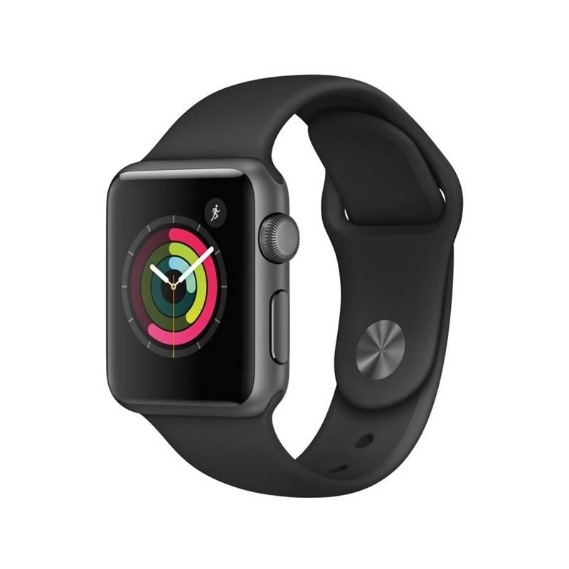 Chytré hodinky Apple Watch Series 1 38mm pouzdro z vesmírně šedého hliníku – černý sportovní řemínek (MP022CN/A) + Doprava zadarmo