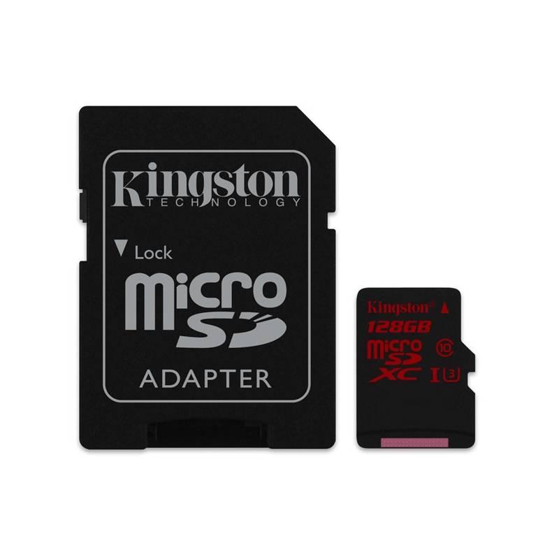 Pamäťová karta Kingston MicroSDXC 128GB UHS-I U3 (90R/80W) + adapter (SDCA3/128GB)