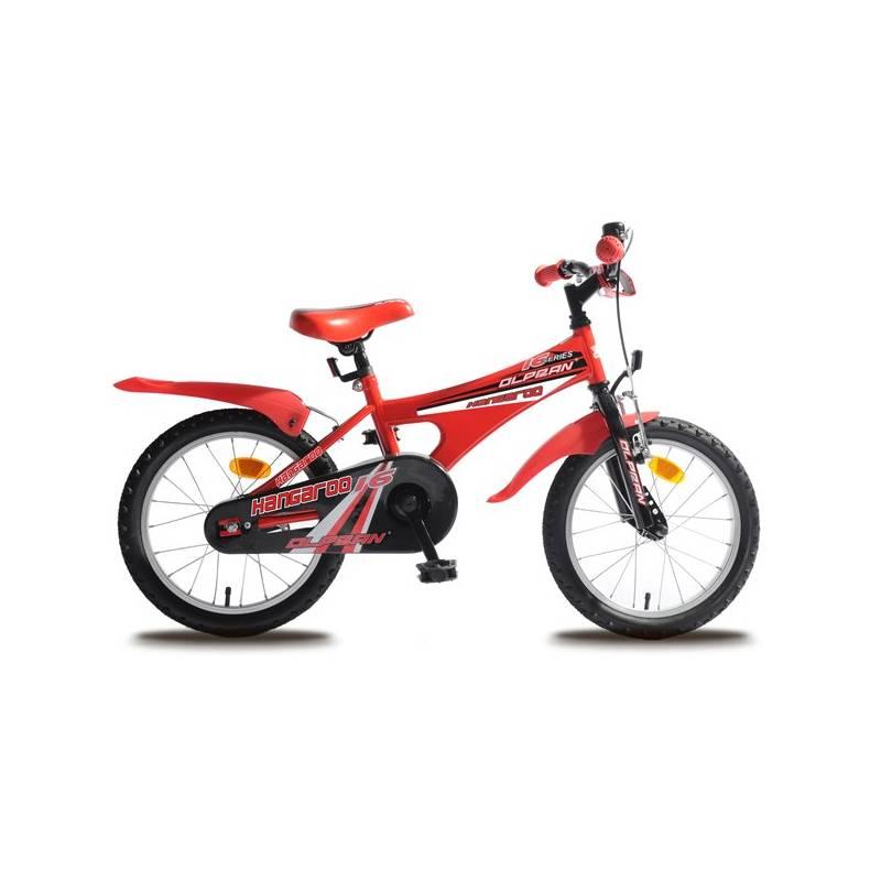 """Detský bicykel Olpran Kangaroo 16"""" čierny/červený Sada cyklodoplňků (zvonek+blikačka+světlo) pro kolo dětské (zdarma)"""