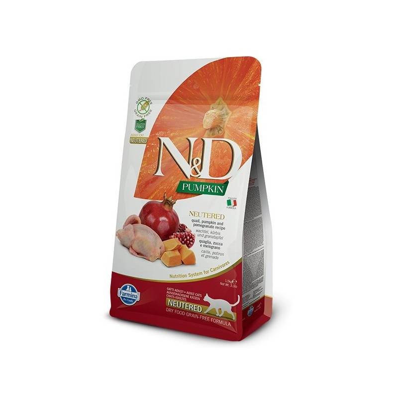 Granule N&D Grain Free Pumpkin CAT NEUTERED Quail & Pomegranate 1,5 kg
