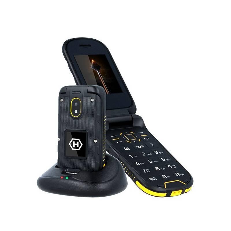 Mobilní telefon myPhone Hammer Bow Plus Dual SIM (TELMYHBOWPOR) černý/oranžový