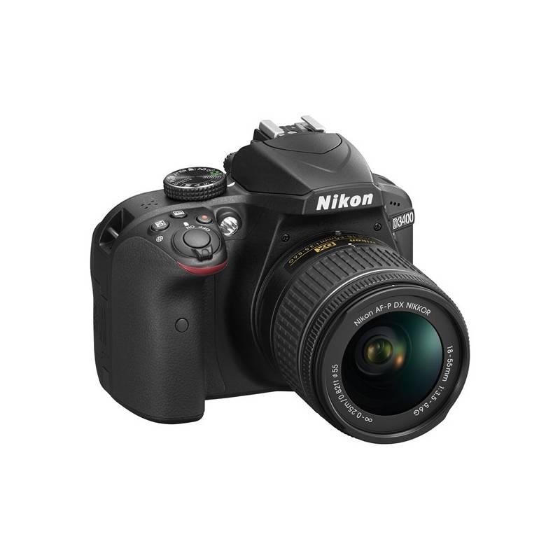Digitálny fotoaparát Nikon D3400 + AF-P 18-55 NON VR + 4x čištění čipu zdarma (VBA490K002) čierny Dalekohled Nikon 8×21 Aculon T01, bílý (zdarma) + Doprava zadarmo