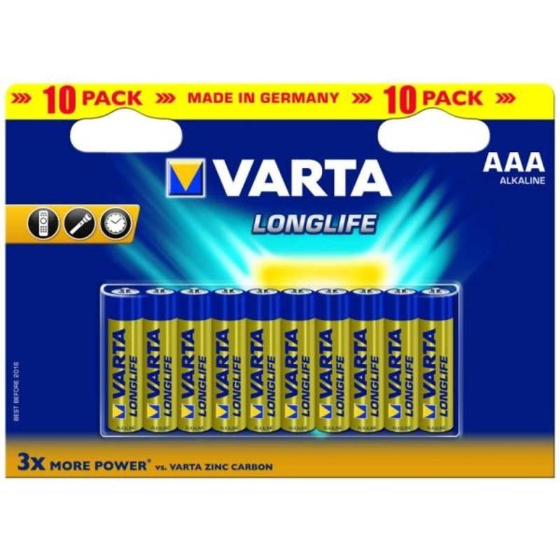 Batéria alkalická Varta Longlife, AAA, 10 ks