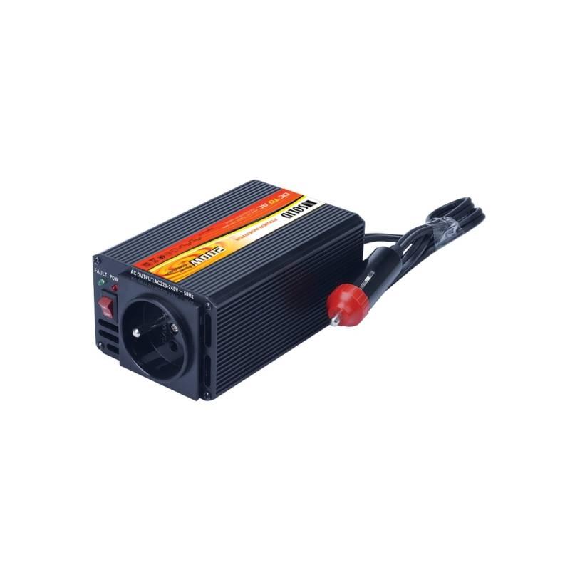 Menič napätia Solight 12V, 200W, kovový, černý, 12V + USB 500mA (221882)