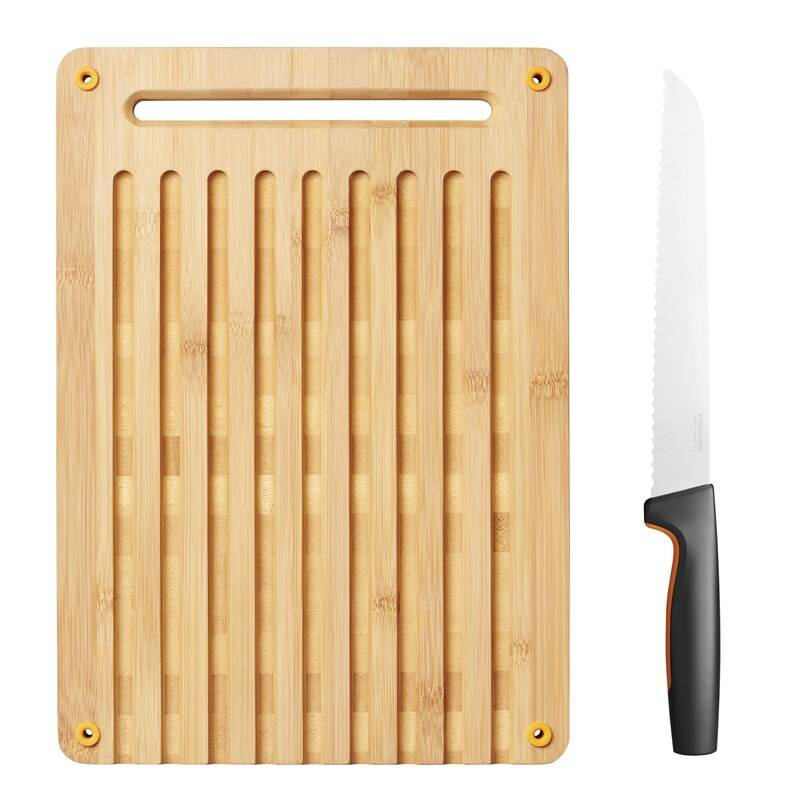 Kuchynská doštička Fiskars Functional Form + nůž na pečivo