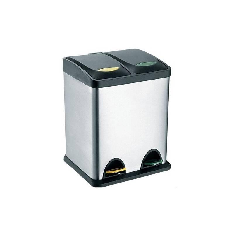 Odpadkový kôš TORO 2 x 8 l čierny/nerez Čistící přípravek na koupelny YOU 500 ml (zdarma)