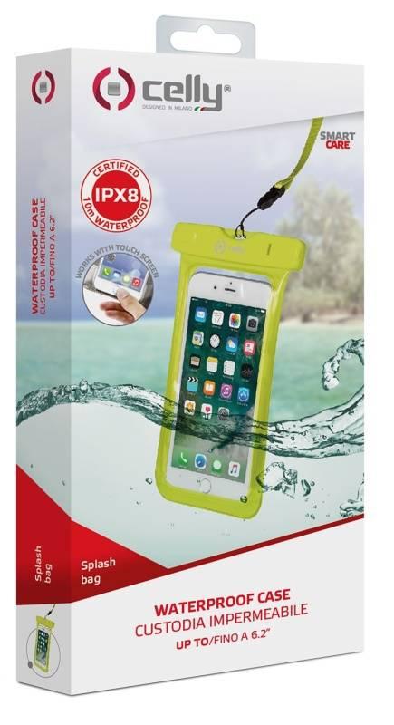 """Puzdro na mobil športové Celly Splash Bag voděodolné pro 6,2"""" (SPLASHBAG18YL) žlté"""