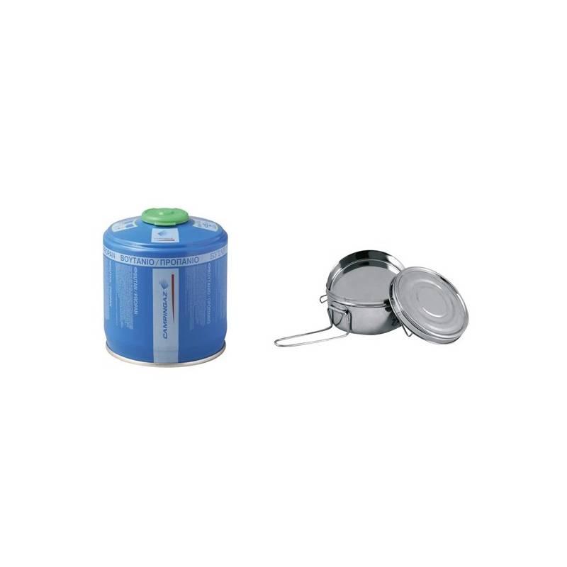 SET Vařič Campingaz BLEUET® MICRO PLUS (1300 W / 180 g) + kartuše CV 300 plus + Sada nádobí Yate Camp 1 L