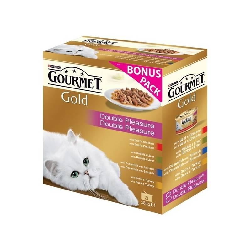 Konzerva Gourmet Gold směs dušených a grilovaných kousků Multipack (8x85g)