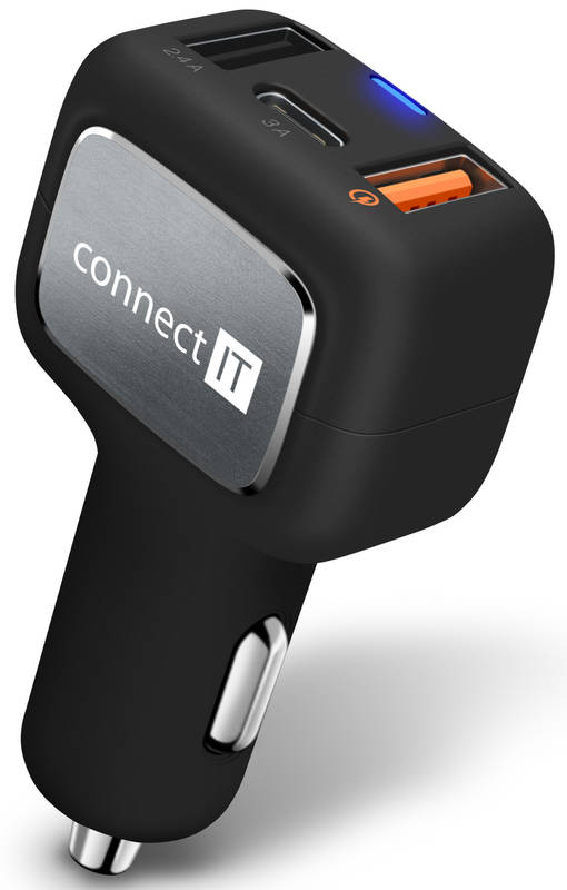 Adaptér do auta Connect IT InCarz, 2x USB (2,4A), 1x USB-C (3A), s funkcí rychlonabíjení QC 3.0 (CCC-6010-BK) čierny