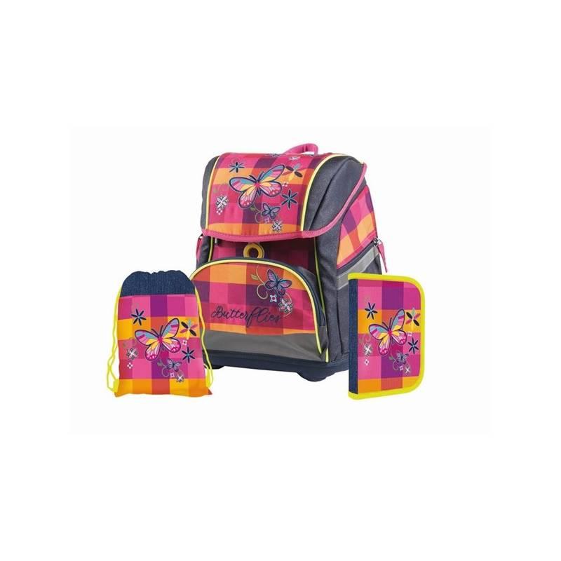 Školský set P + P Karton PREMIUM FLEXI Butterfly/Motýľ Sáček na přezůvky P + P Karton OXY Neon Dark Blue (zdarma)