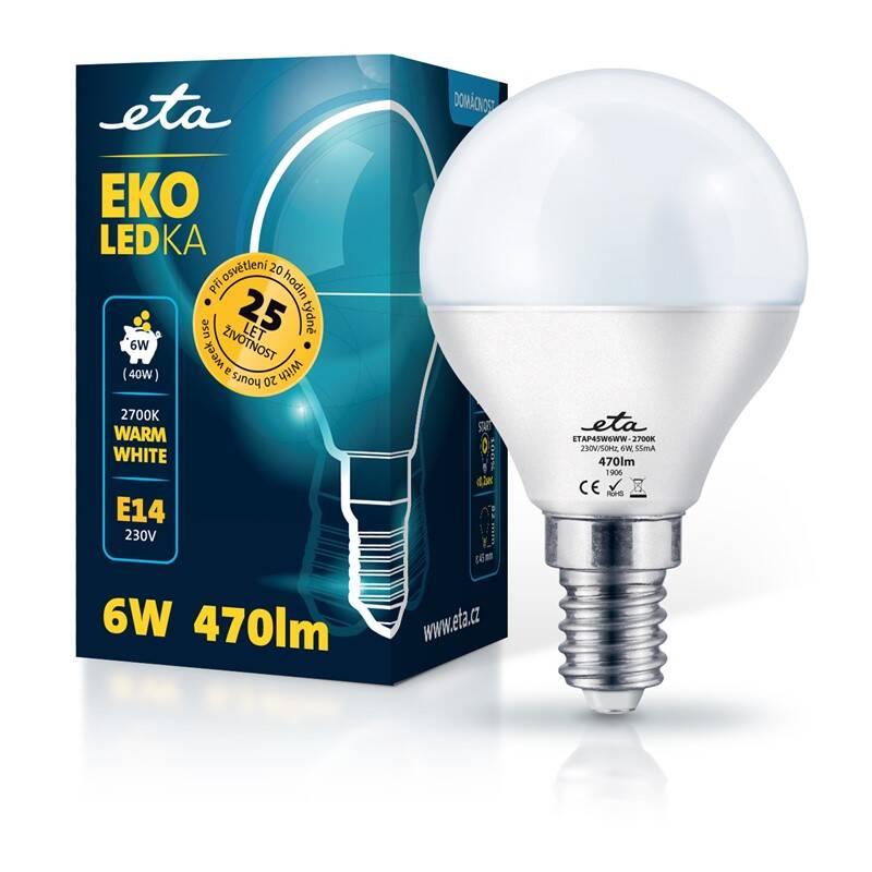 LED žiarovka ETA EKO LEDka mini globe 6W, E14, teplá biela (P45W6WW)