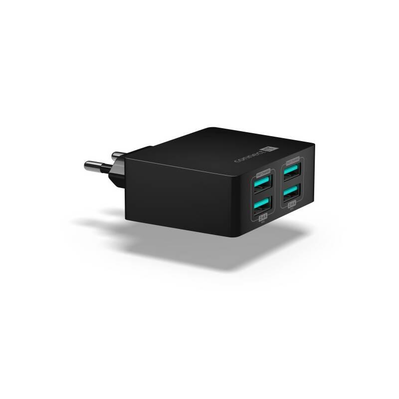 Nabíjačka do siete Connect IT Fast Charge 4x USB, 4,8A s funkcí rychlonabíjení (CWC-4010-BK) čierna